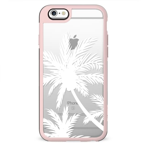 MOdern tropical white palm trees summer beach transparent by Girly Trend