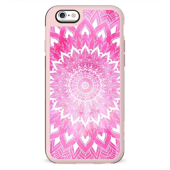 Boho chic white floral mandala on neon pink watercolor tie dye by Girly Trend
