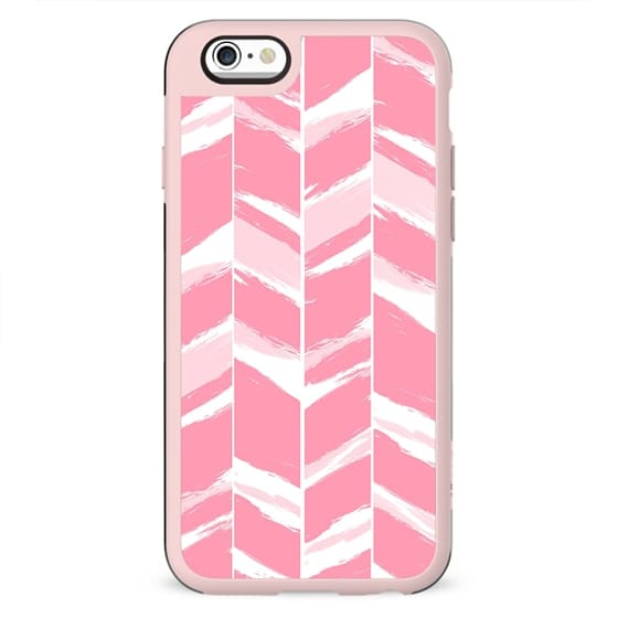 Modern abstract pink geometric brushstrokes chevron pattern by Girly Trend
