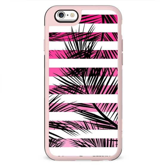 Tropical neon pink pastel ombre gradient palm tree white geometric stripes by Girly Trend