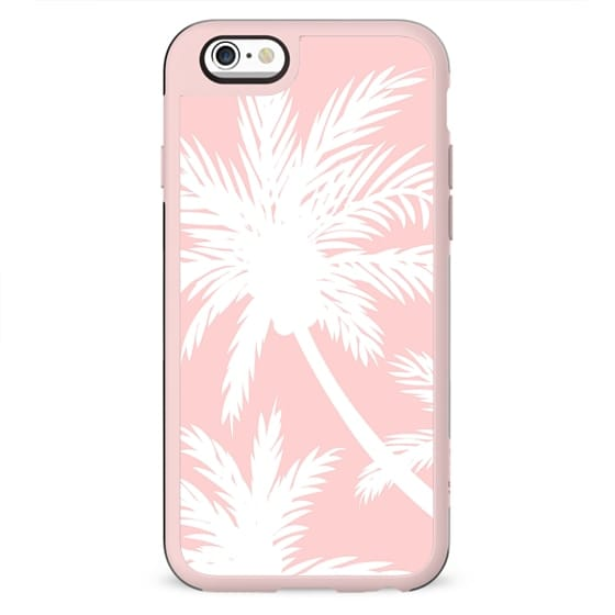 Tropical summer simple white palm trees girly pink by Girly Trend