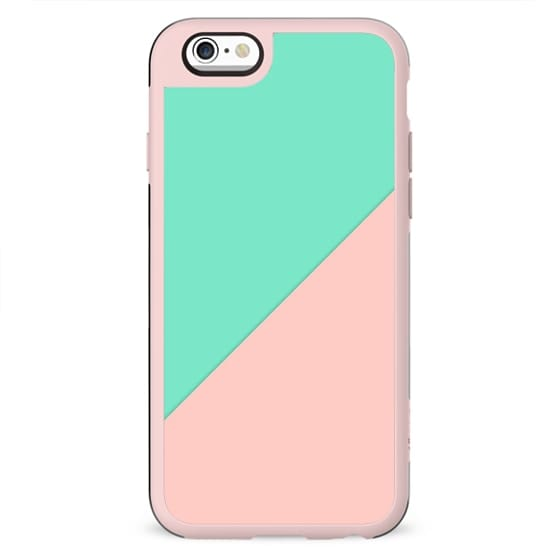 Simple minimalist pink mint green abstract geometric color block by Girly Trend