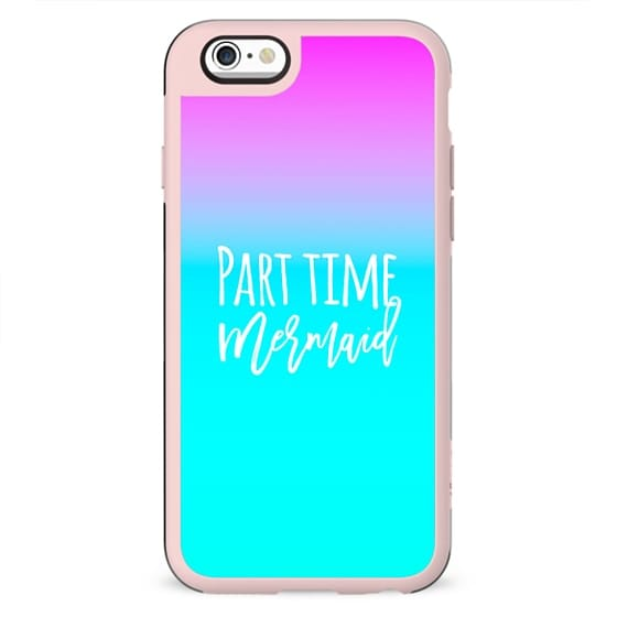 Modern funny summer part time mermaid typography pink blue gradient by Girly Trend