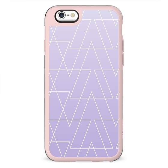 Modern white geometric triangles pattern on purple lavender ombre white gradient by Girly Trend