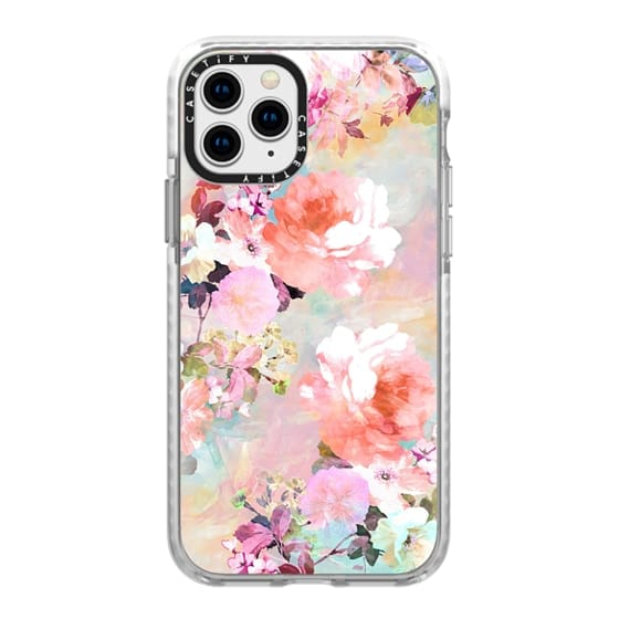 iPhone 11 Pro Cases - Romantic Pink Teal Pastel Chic Floral Pattern by Girly Trend