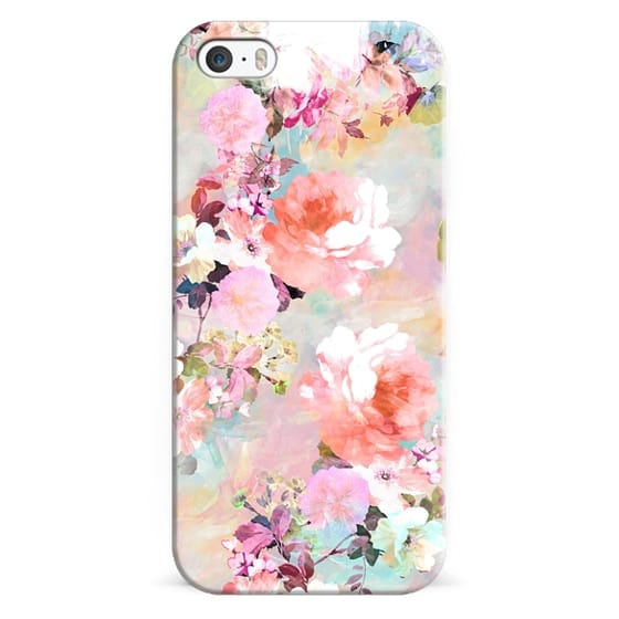 iPhone 5s Cases - Romantic Pink Teal Pastel Chic Floral Pattern by Girly Trend