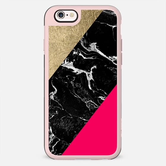 Neon pink black marble gold foil color block by Girly Trend - New Standard Case