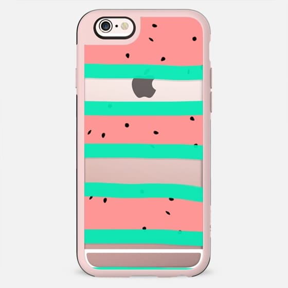 Summer bright coral mint watermelon stripes pattern by Girly Trend