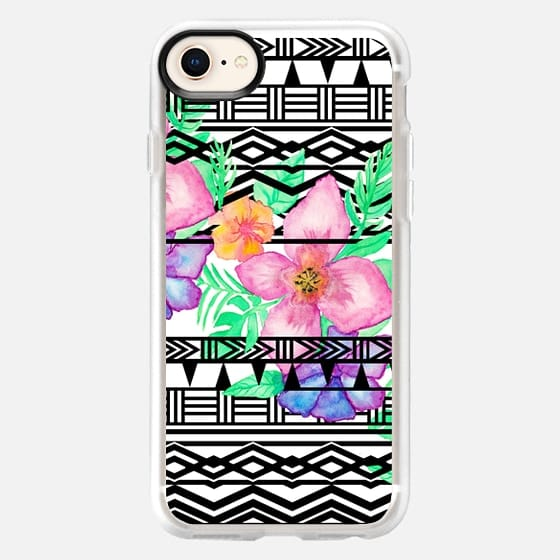 Exotic hawaiian floral watercolor black aztec by Girly Trend - Snap Case