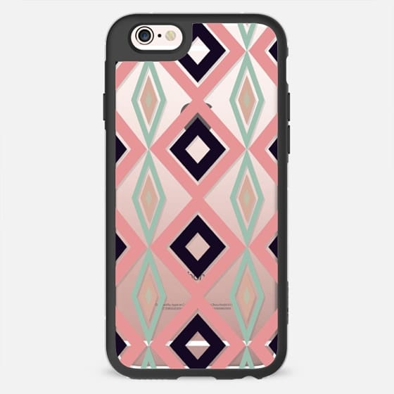 Modern pink turquoise geometric checkers pattern by Girly Trend - New Standard Case