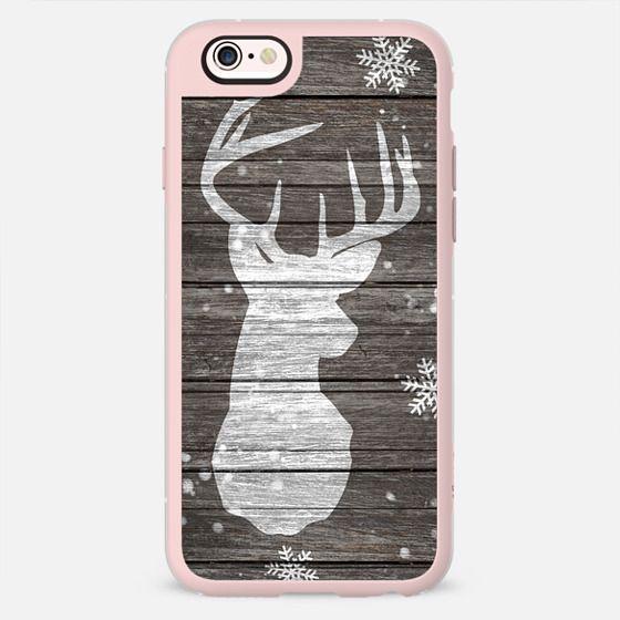 Snow painted deer antlers striped brown wood by Girly Trend -