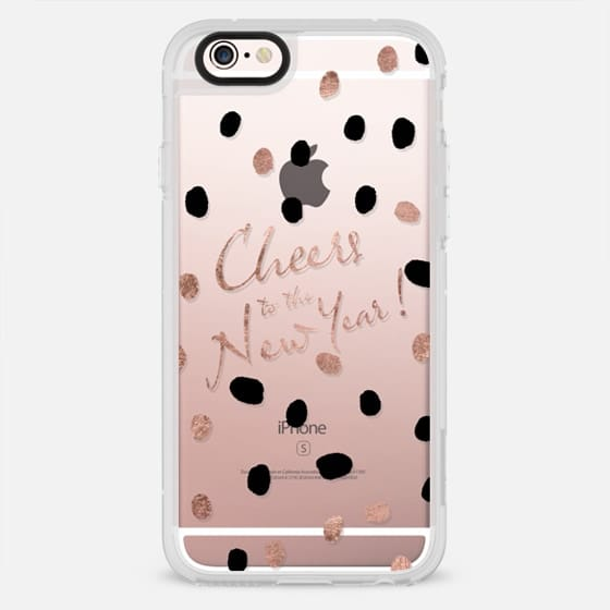 Modern rose gold confetti Cheers to the New Year typography transparent