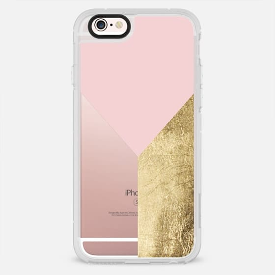 Modern blush pink gold foil triangle color block transparent by Girly Trend