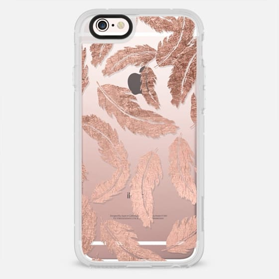 Modern boho rose gold foil feathers illustration by Girly Trend - New Standard Case