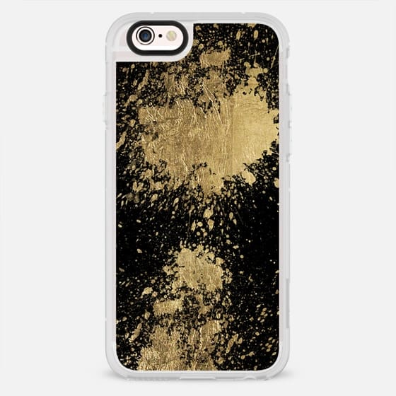Modern gold foil paint splatters brush strokes elegant black by Girly Trend - New Standard Case