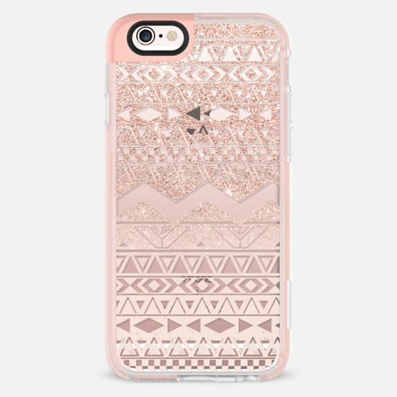 Modern faux rose gold glitter pastel blush pink geometric aztec pattern by Girly Trend -