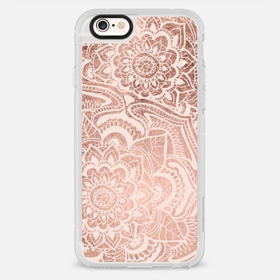 Modern floral rose gold blush pink mandala pattern illustration by Girly Trend - New Standard Case
