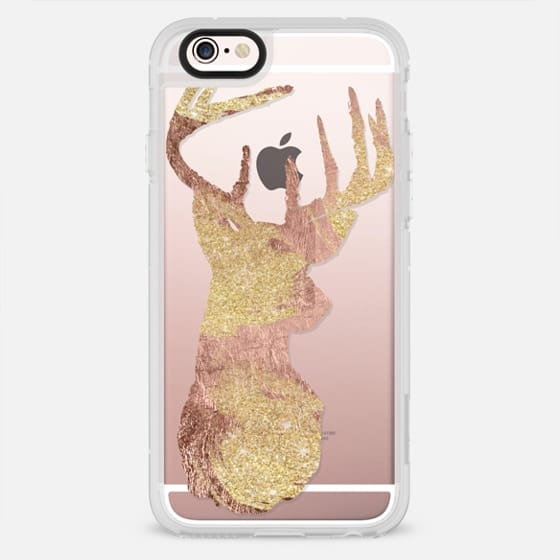 Modern faux rose gold and gold glitter deer silhouette by Girly Trend - New Standard Case