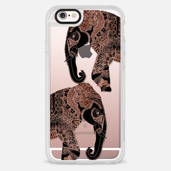 Modern rose gold black elephant boho tribal illustration by Girly Trend