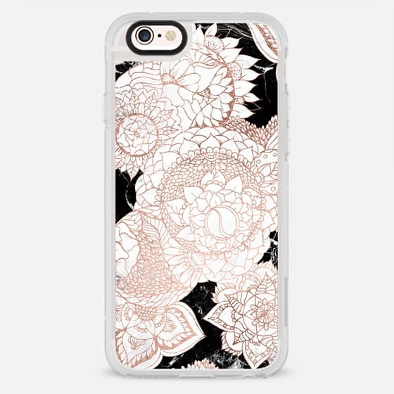 Modern faux rose gold foil hand drawn floral illustration black white marble by Girly Trend