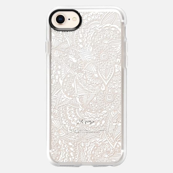 Modern white handdrawn illustration floral henna paisley mandala pattern semi transparent by Girly Trend - Snap Case