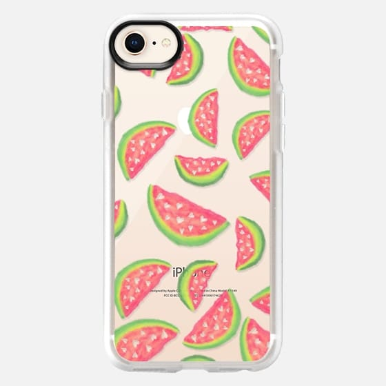 Summer hand painted pink green watercolor watermelons fruits and hearts pattern illustration by Girly Trend - Snap Case