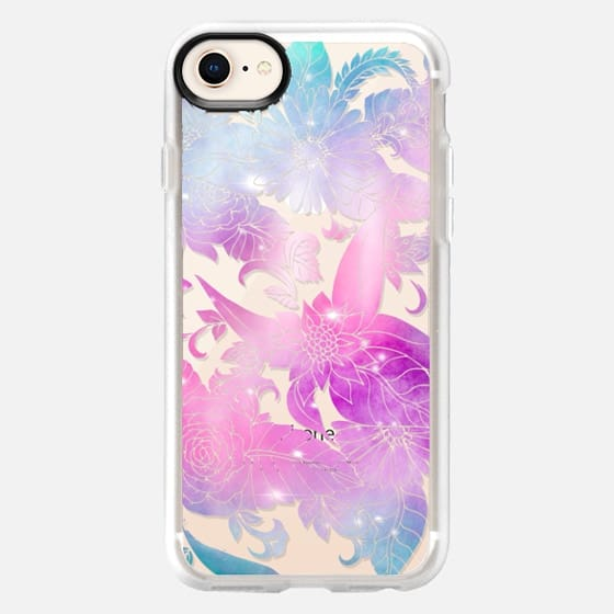 Modern pink purple watercolor floral hand drawn illustration by Girly Trend - Snap Case