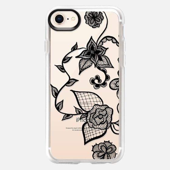 Girly simple modern black hand drawn elegant floral lace illustration by Girly Trend - Snap Case