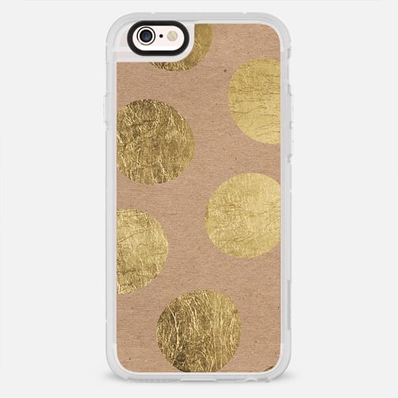 Modern hand drawn gold foil polka dots brown kraft - New Standard Case