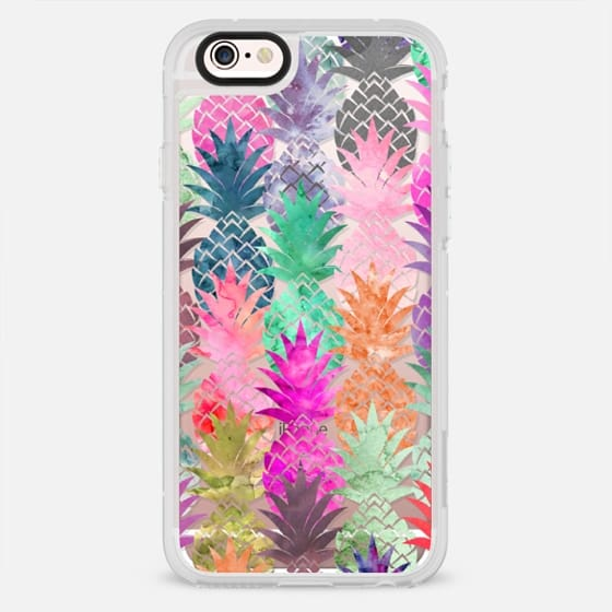 Girly bright pink purple pineapple fruits watercolor pattern by Girly Trend