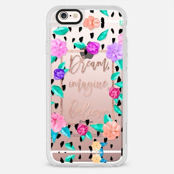 Rose gold Typography dream imagine believe floral hand painted watercolor by Girly Trend - New Standard Case