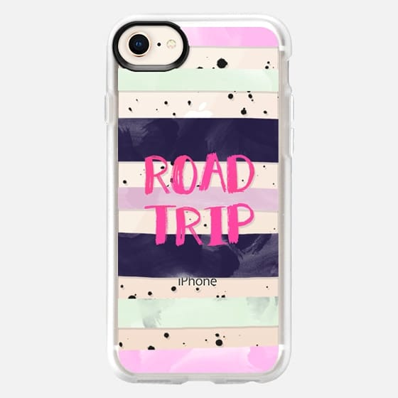 Modern road trip typography pink purple green watercolor stripes splatters by Girly Trend - Snap Case