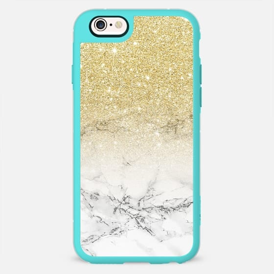 Modern faux gold glitter ombre elegant white marble color block by Girly Trend