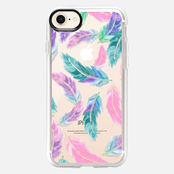 Pastel pink turquoise watercolor feathers pattern semi transparent by Girly Trend - Snap Case
