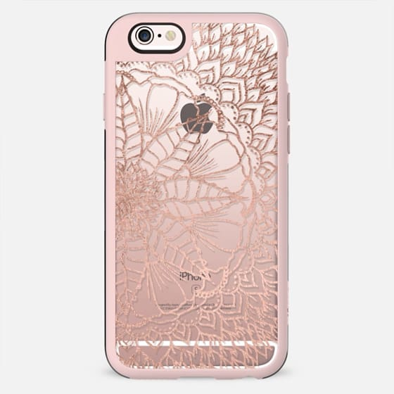 Modern faux rose gold foil handdrawn floral mandala boho hippie pattern by Girly trend - New Standard Case