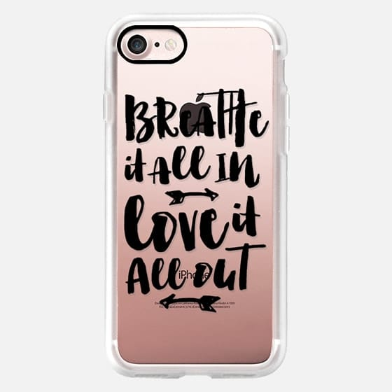 Modern breathe it all in love it all out typography black by Girly Trend