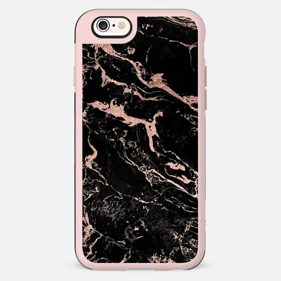 Modern chic rose gold foil black marble by Girly Trend - New Standard Case