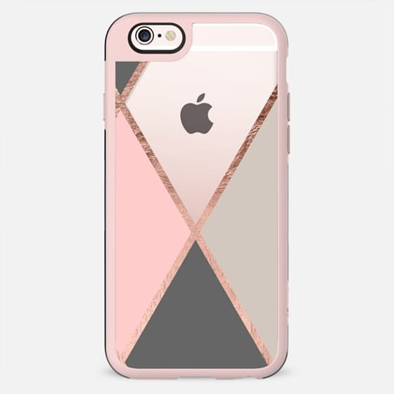 Modern pastel pink gray color block rose gold stripes by Girly Trend - New Standard Case