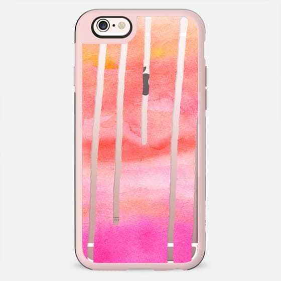 Abstract bright modern pink coral watercolor drips semi transparent paint by Girly Trend