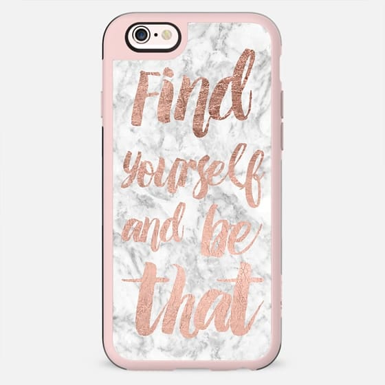 Motivation find yourself rose gold white marble brushstroke modern typography by Girly Trend - New Standard Case