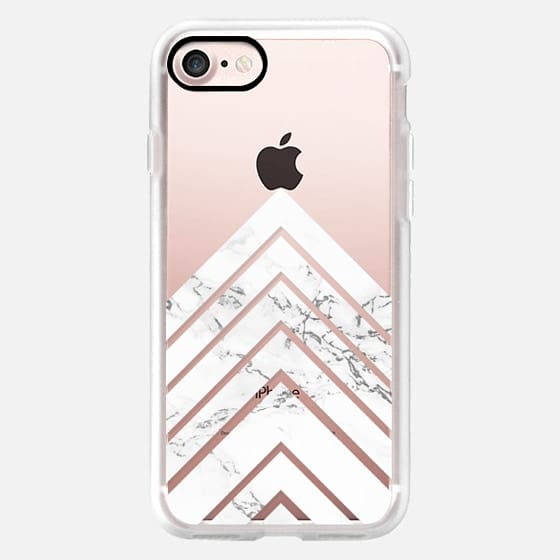 Modern trendy elegant geometric white marble triangle stripes by Girly Trend -