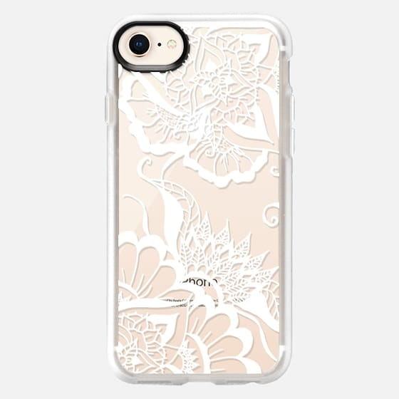 Modern white summer floral mandala by Girly Trend - Snap Case