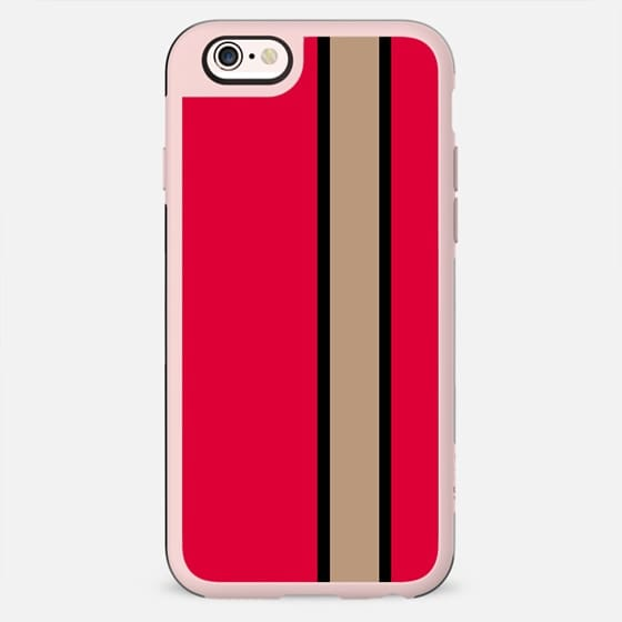 Modern red beige black stripe color block fashion by Girly Trend