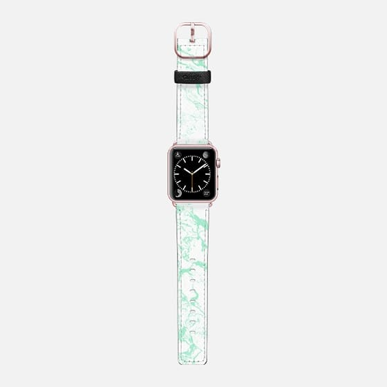 Trendy modern pastel mint green white marble pattern by Girly Trend - Saffiano Leather Watch Band