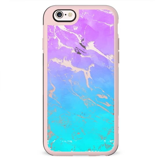 Modern summer purple blue ombre watercolor mermaid transparent marble by Girly Trend
