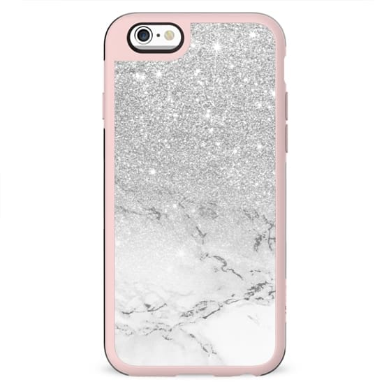 Modern faux grey silver glitter ombre white marble by Girly Trend