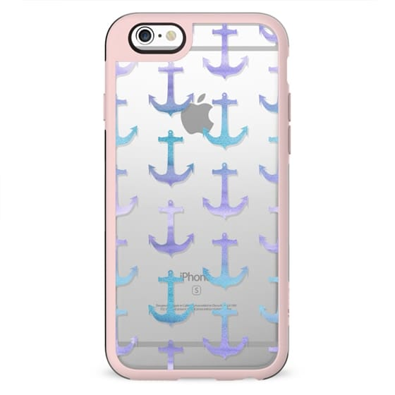 Modern pastel purple lavender blue watercolor summer nautical anchors pattern by Girly Trend