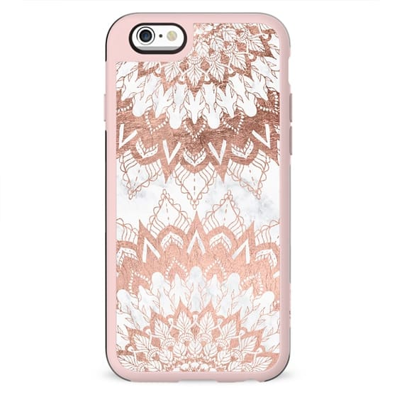 Modern chic rose gold floral mandala illustration on trendy white marble by Girly Trend