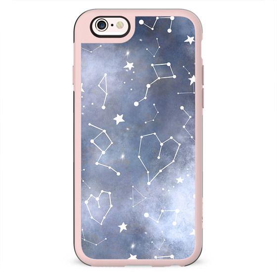 Modern black grey white nebula watercolor hearts constellation stars universe pattern by Girly Trend