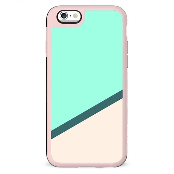 Modern tropical mint turquoise blush pink greenery color block stripe by Girly Trend